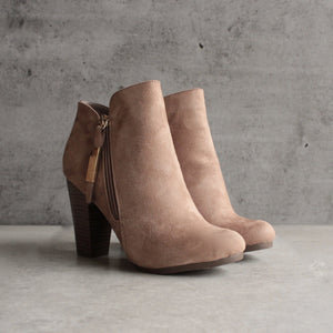 almond toe stacked heel vegan suede booties - natural - shophearts - 9