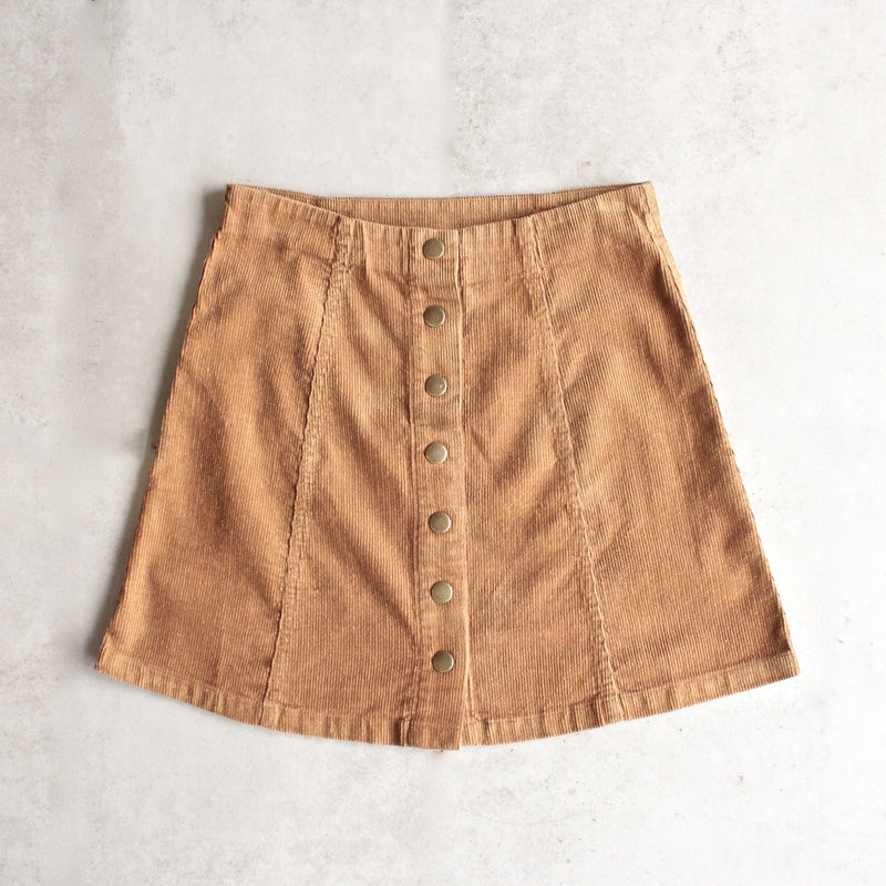 corduroy button up a line skirt - camel - shophearts - 4