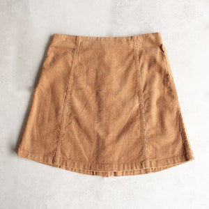 corduroy button up a line skirt - camel - shophearts - 2
