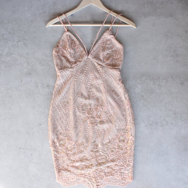 shine bright like a diamond bodycon dress - embellished rose gold - shophearts - 1