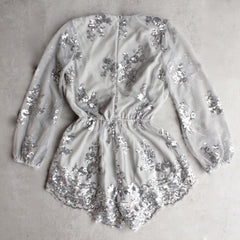 reverse - life of the party sequin romper - silver - shophearts - 2