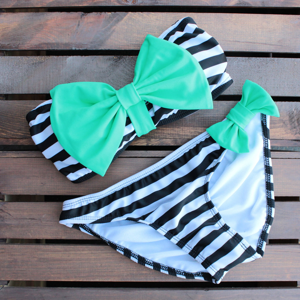 mint and black striped sailor gal bow bikini - shophearts - 1