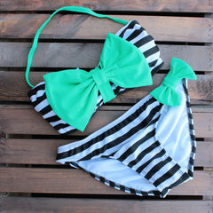 mint and black striped sailor gal bow bikini - shophearts - 3