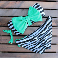 mint and black striped sailor gal bow bikini - shophearts - 2
