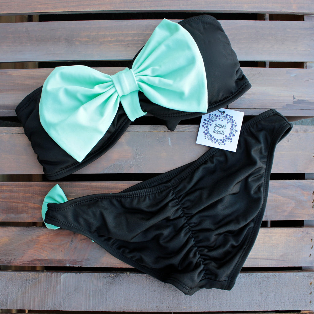 black & mint bow bikini set - shophearts - 2