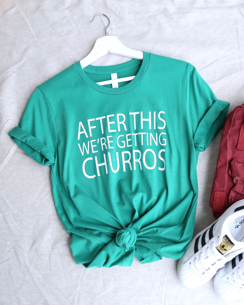 Distracted - After This We're Getting Churros Unisex Graphic Tee in Green/White
