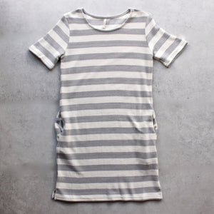 striped french terry tee shirt dress - shophearts - 1