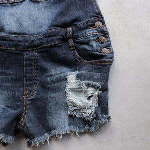 distressed denim overall short - shophearts - 2