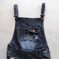 distressed denim overall short - shophearts - 3