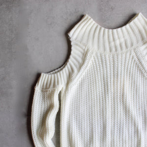 Cold shoulder knit sweater - ivory - shophearts - 2