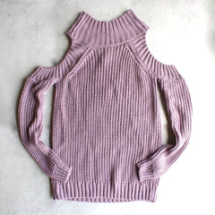 Cold shoulder knit sweater - lavender - shophearts - 1