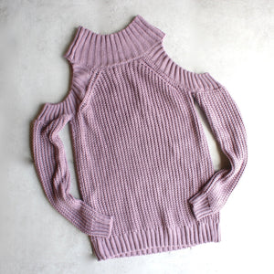 Cold shoulder knit sweater - lavender - shophearts - 2