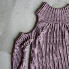 Cold shoulder knit sweater - lavender - shophearts - 3