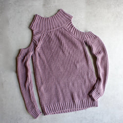 Cold shoulder knit sweater - lavender - shophearts - 4