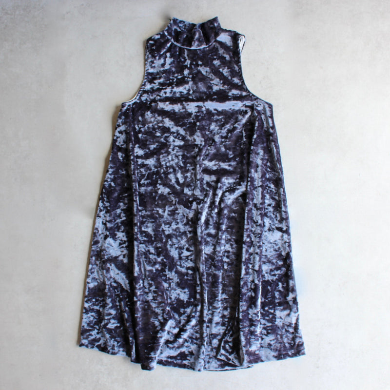 crushed velvet swingy tank dress - navy - shophearts
