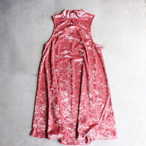 crushed velvet swingy tank dress - coral - shophearts