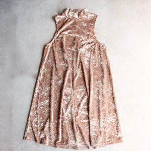 crushed velvet swingy tank dress - gold - shophearts