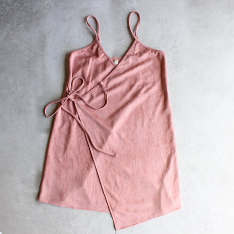 faux suede wrap cami dress - shophearts