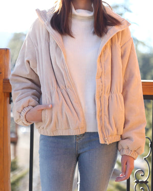 Cassidy Corduroy High Collared Bomber Jacket in Sand
