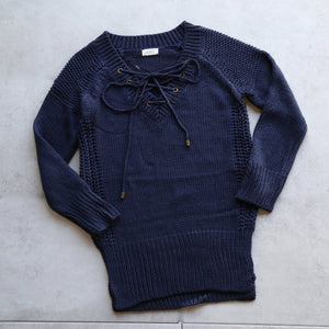 lace-up knit sweater in navy - shophearts - 1
