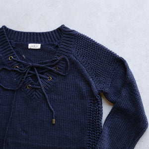 lace-up knit sweater in navy - shophearts - 2