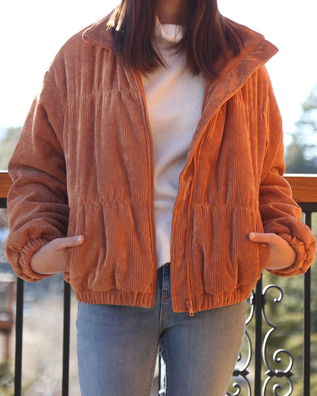 Cassidy Corduroy High Collared Bomber Jacket in Camel