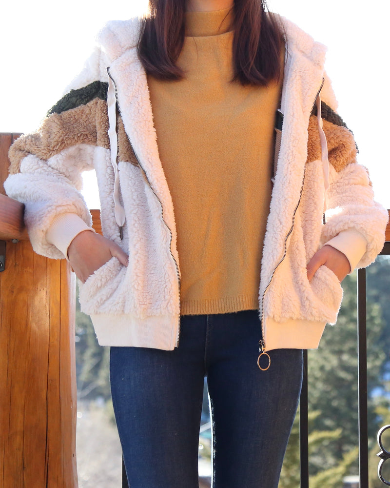 Chevron Sherpa Puffy Zip Up Jacket in More Colors