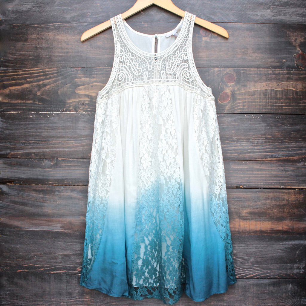 FINAL SALE - vanity vintage lace flowy dress - ombre teal - shophearts - 1