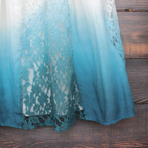 FINAL SALE - vanity vintage lace flowy dress - ombre teal - shophearts - 4