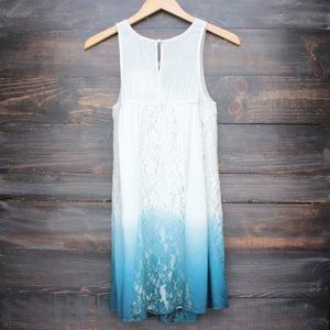 FINAL SALE - vanity vintage lace flowy dress - ombre teal - shophearts - 2