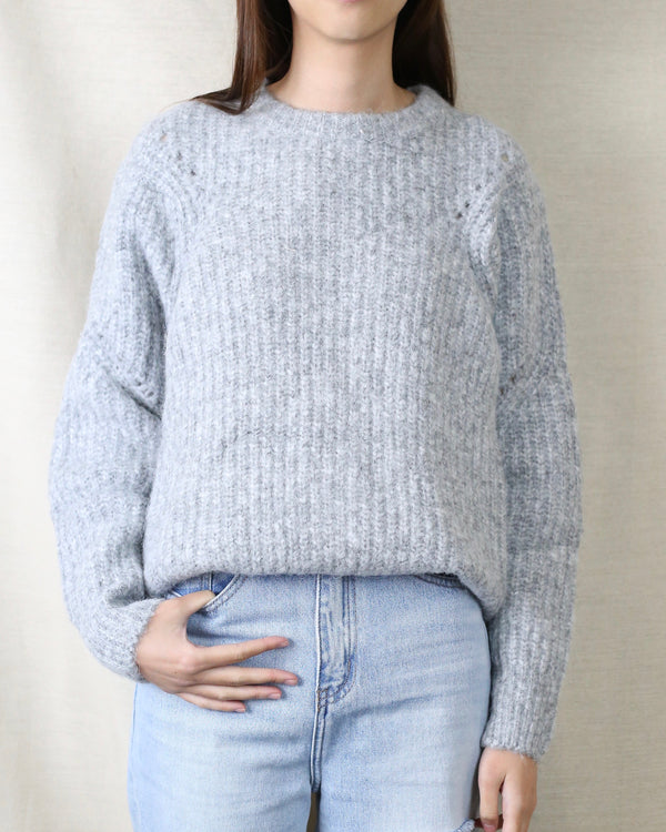 Christina Cozy Throwover Sweater in Grey