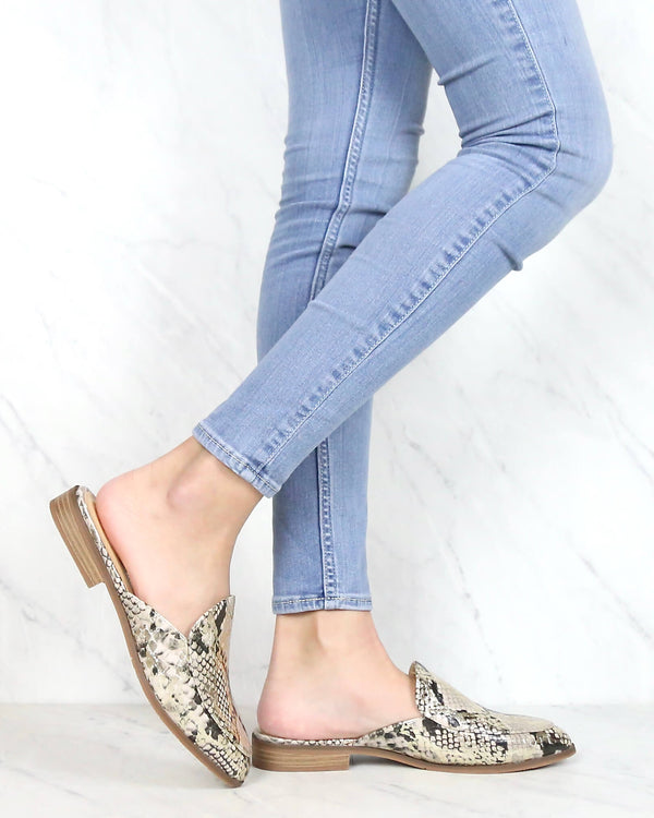 CL by Chinese Laundry - Freshest Animal Print Pointy Toe Mule - Snake Beige