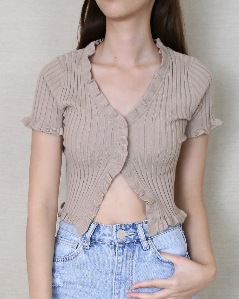 Layla Lettuce Hem Knit Crop Top in Taupe