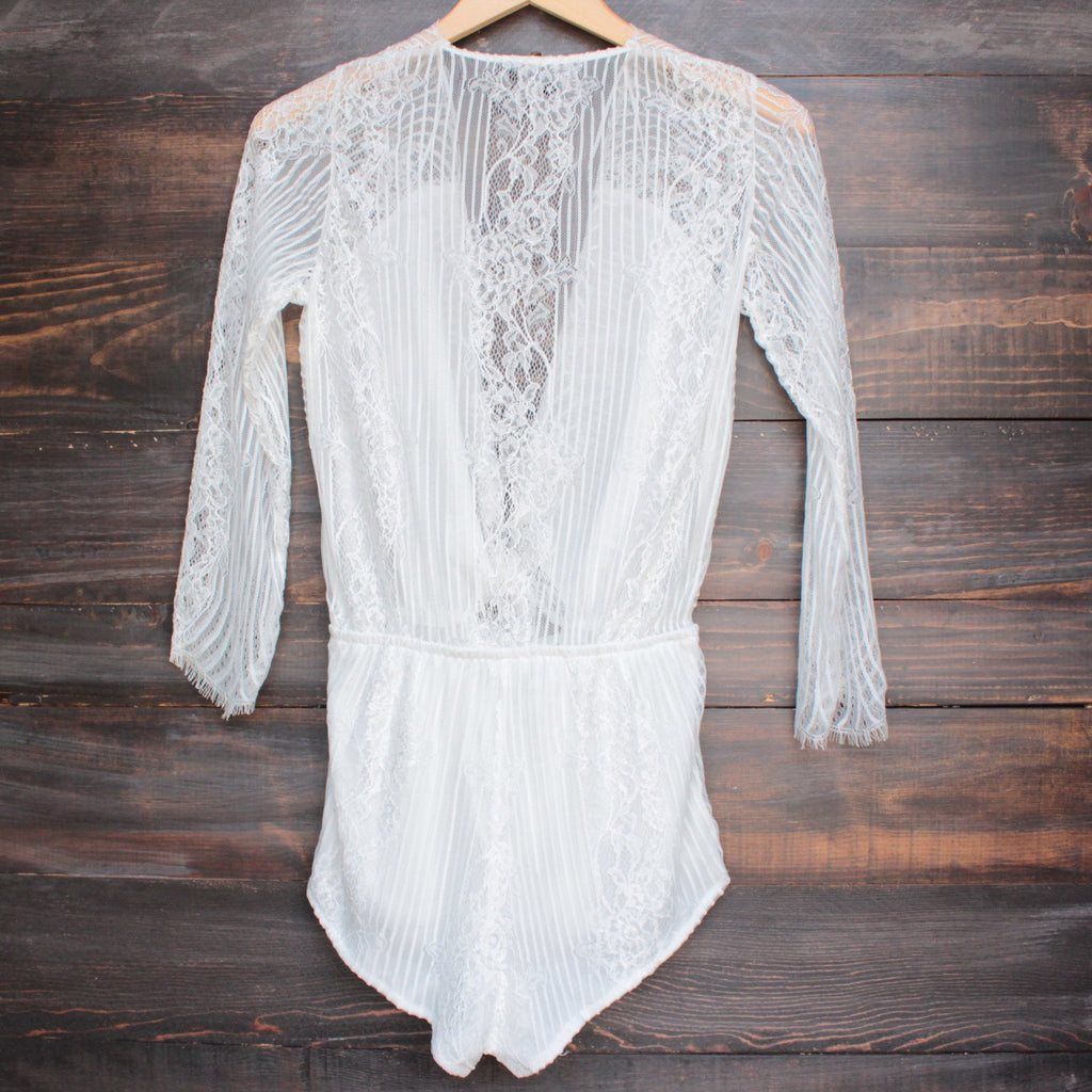 cut to the lace romper - white - shophearts - 2