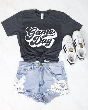 Distracted - Game Day Graphic Tee in Charcoal Grey