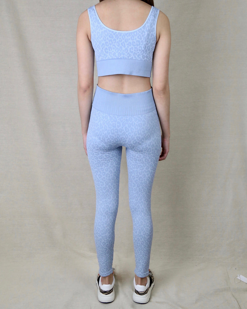 Seamless Leopard Athletic Set (TOP AND BOTTOM SEPARATE) in Powder Blue