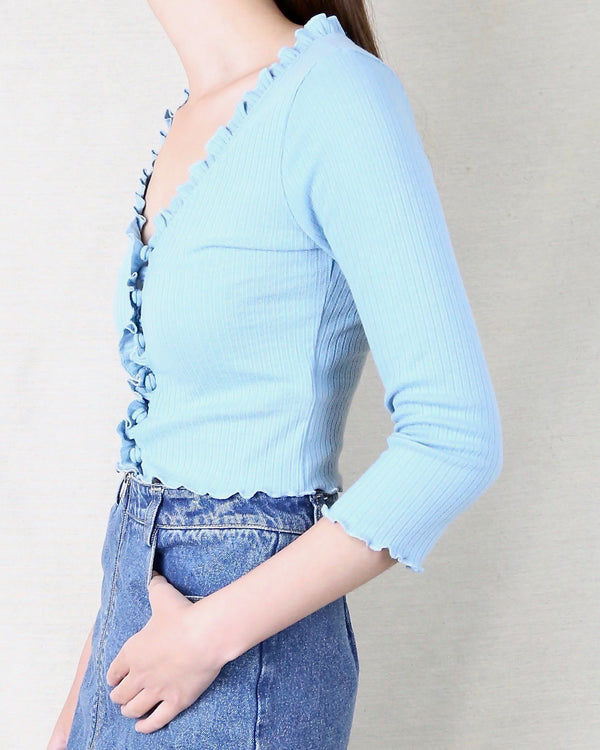 Ribbed Three Quarter Sleeves Cardigan in Turquoise Blue