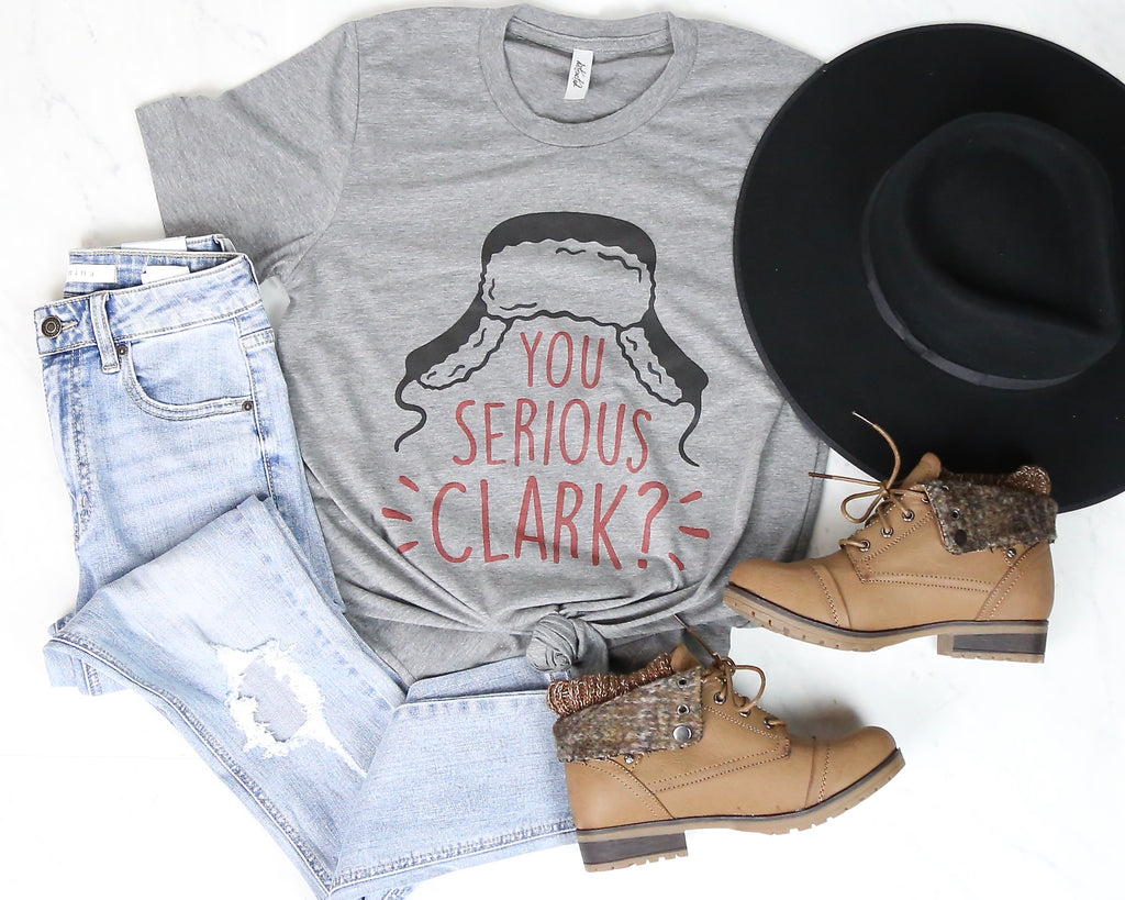 Distracted - You Serious Clark? Graphic Tee in Grey