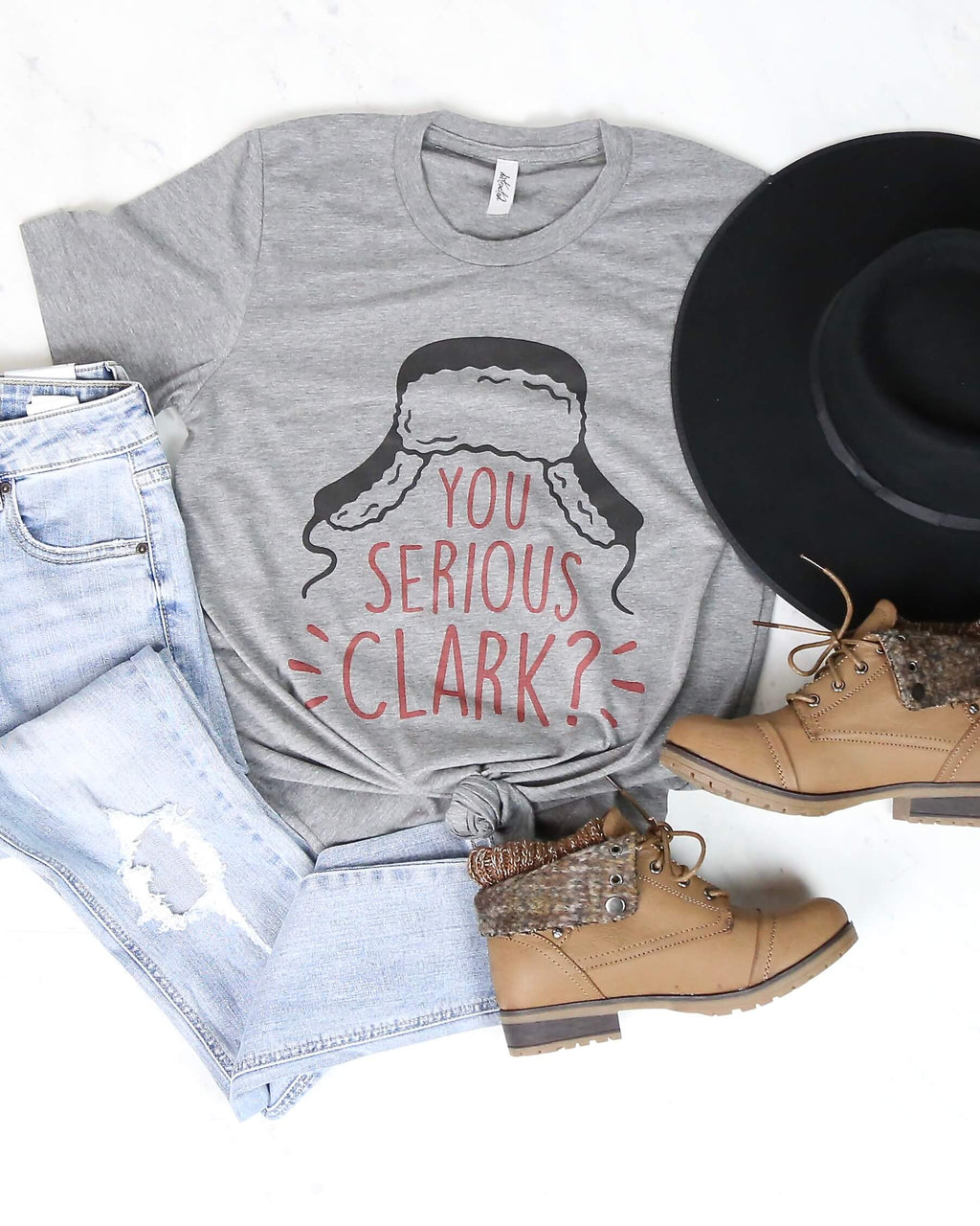 Distracted - You Serious Clark? Christmas Graphic Tee in Grey