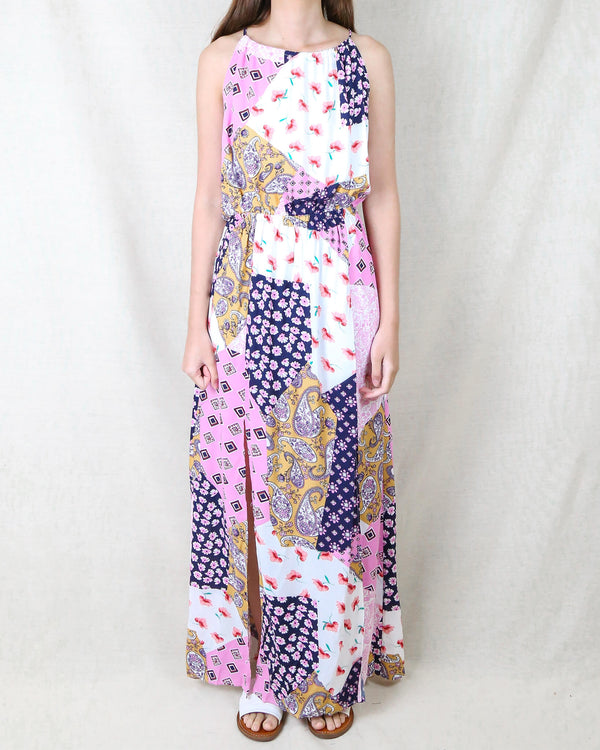 Get Like Floral Patchwork Maxi Dress in Navy/Pink