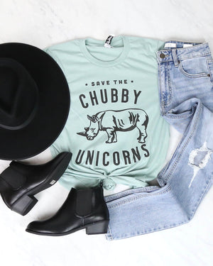 Distracted - Save The Chubby Unicorns Graphic Tee in Mint