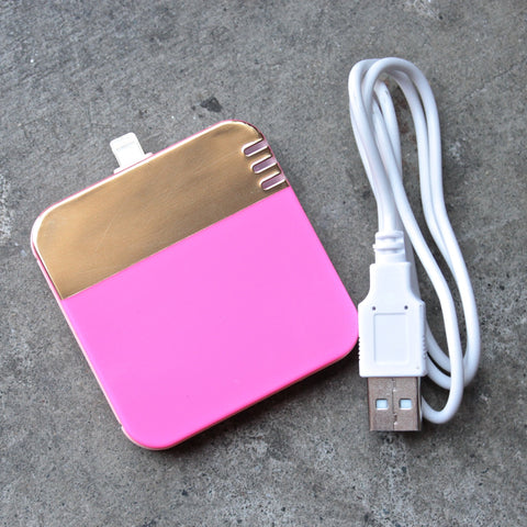 back me up! mobile charger - colorblock neon pink + gold - shophearts - 1