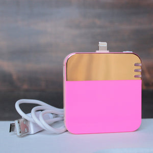 back me up! mobile charger - colorblock neon pink + gold - shophearts - 2