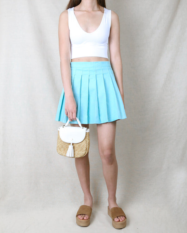 Princess Pleated Mini Tennis Skirt in Baby Blue
