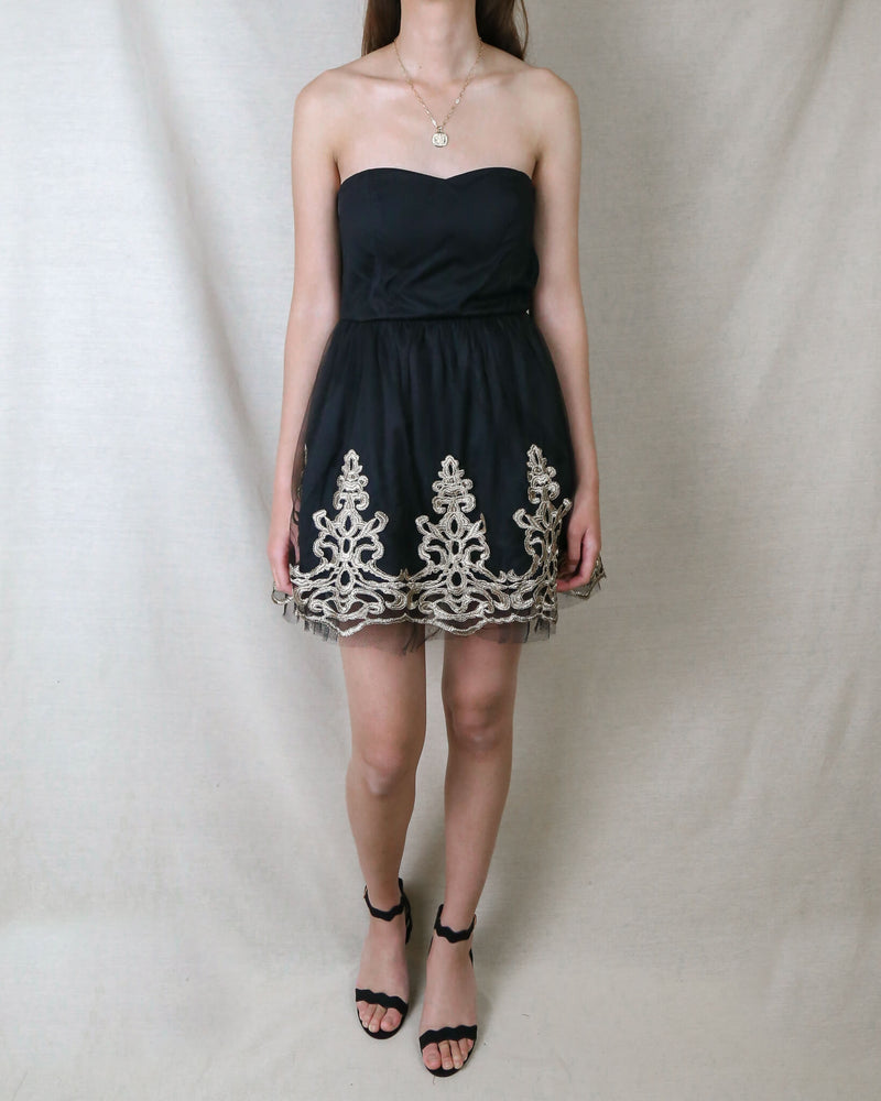 Strapless Little Black Dress With Gold Baroque Trim