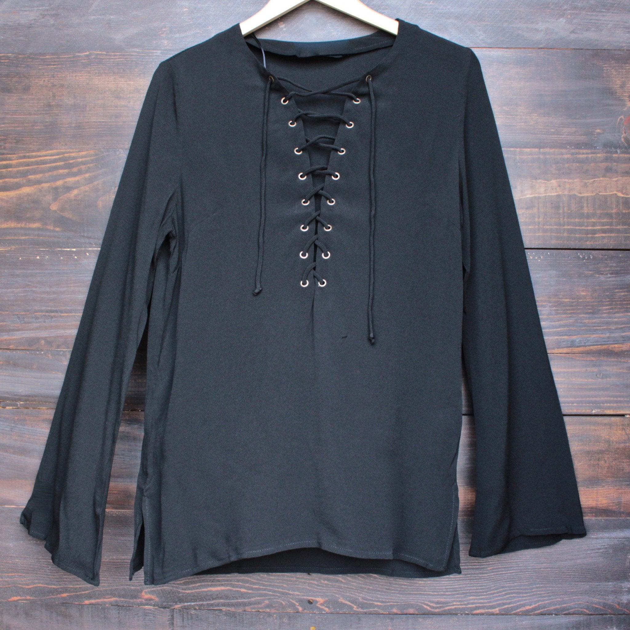 gypsy life oversize front-tie tunic - black - shophearts - 1