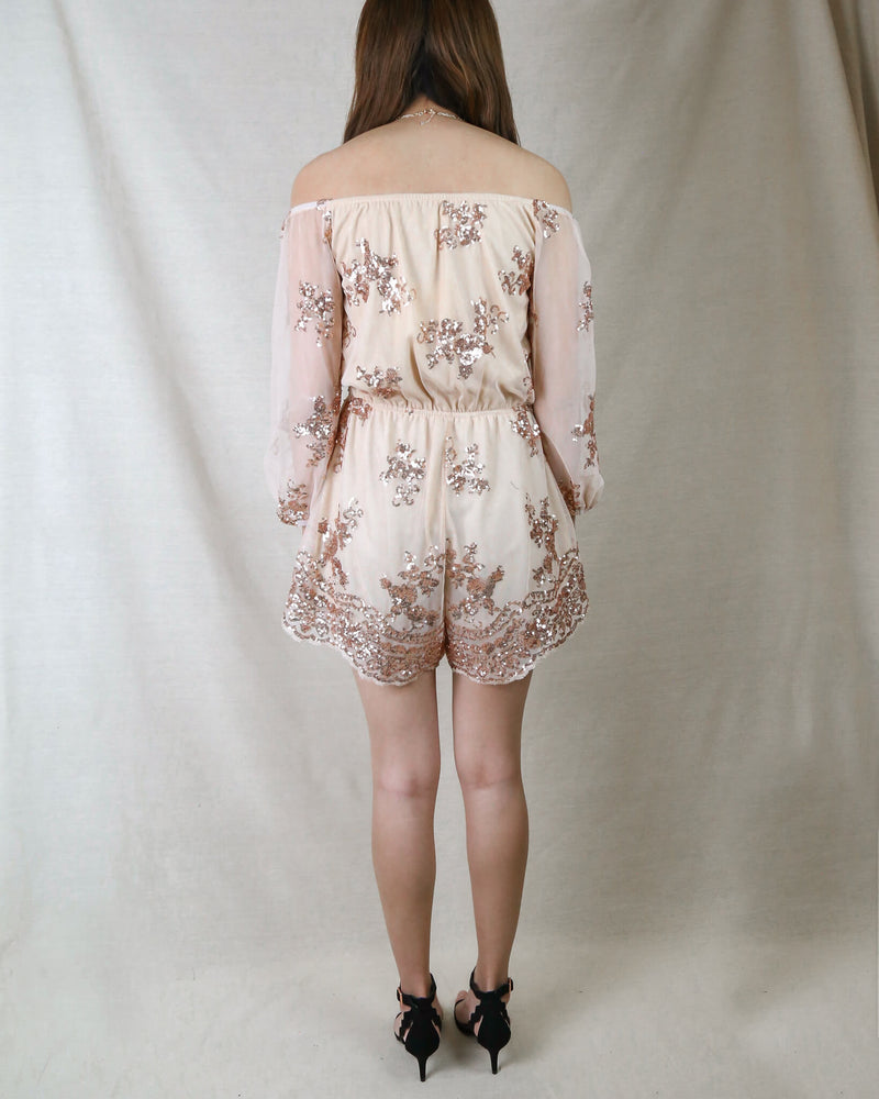 Reverse - Life Of The Party Strapless Sequin Romper in Rose Gold