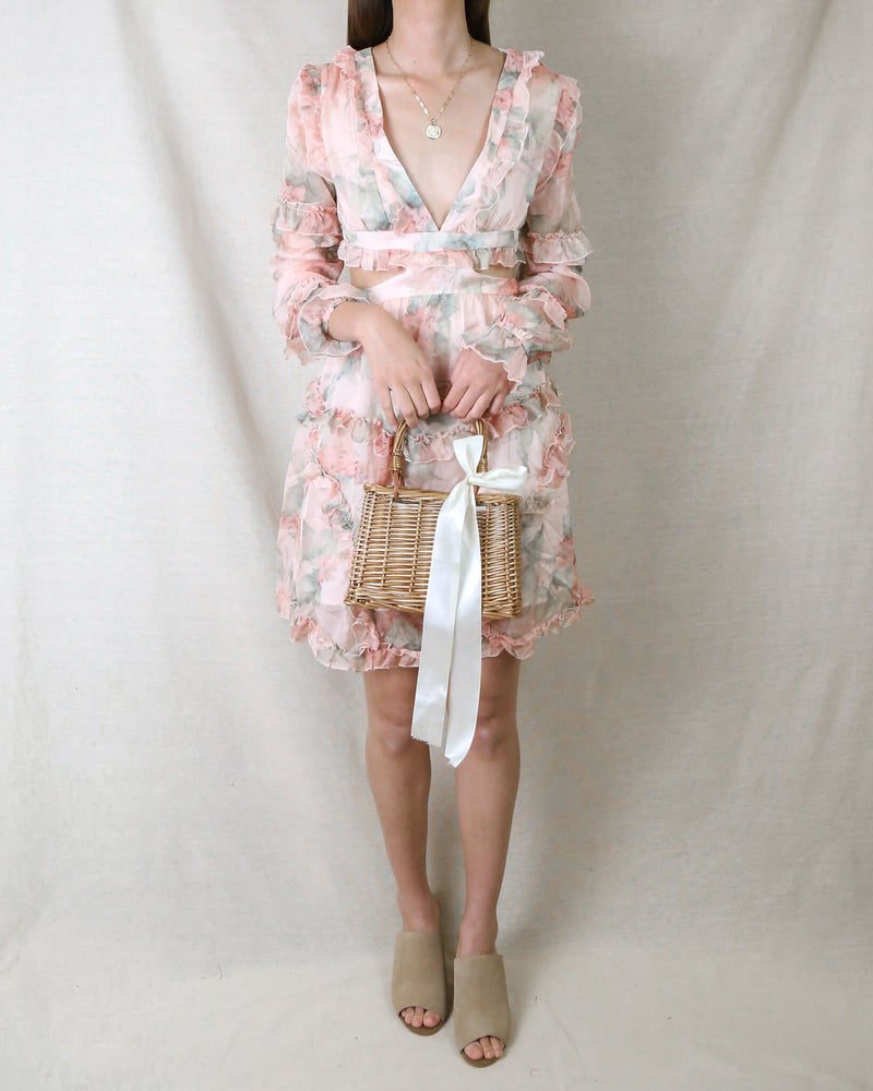 Floral Paradise V-Neck Lantern Sleeve Layered Ruffle Dress in Pink