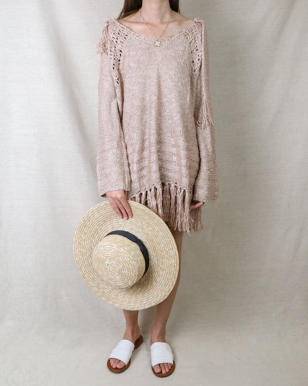 Knit Hoodie Pullover Sweater in Dusty Pink