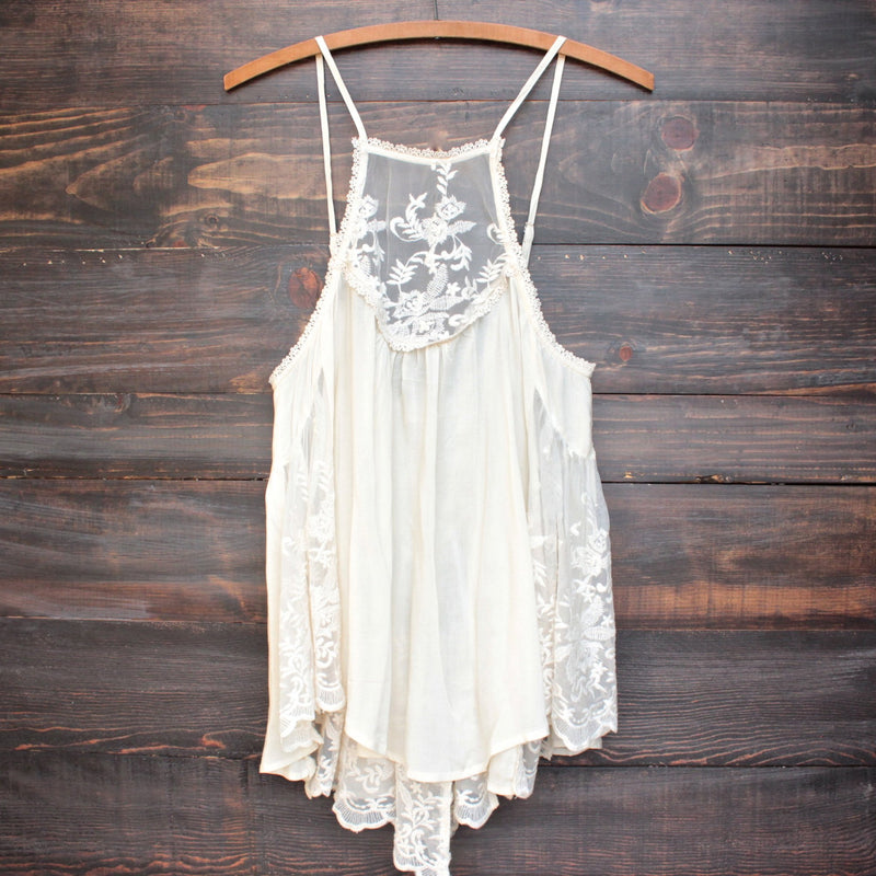 los cabos lace tank in natural - shophearts - 1